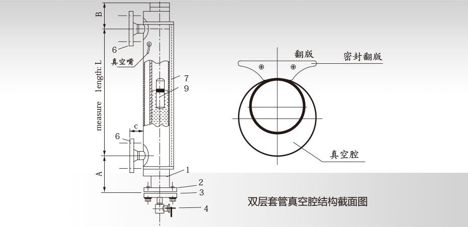 真空夹套磁翻板液位计技术图纸